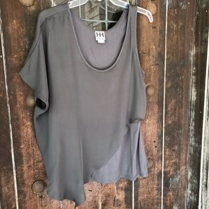 Haute Hippie Silk and Jersey Charcoal Blouse